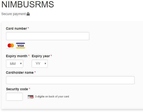 Entering payment details