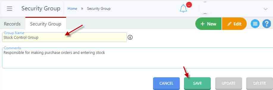 creating security groups in Nimbus RMS