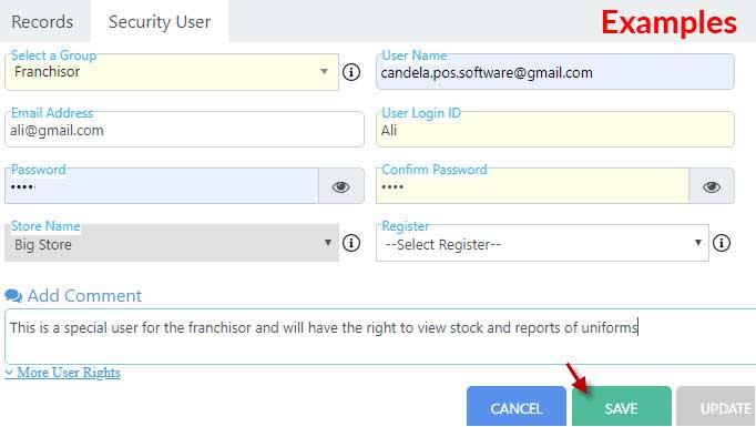 Ali's Unforms example: creating-user-account-in-Nimbus-cloud-retail-software