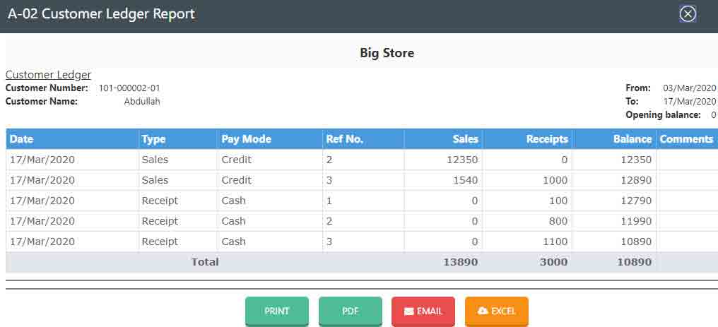 Cloud POS for franchises needs:  franchisee's account-report-in-Nimbus-cloud-retail-software